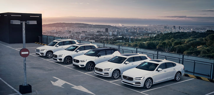 Volvo Hybrid cars lined up