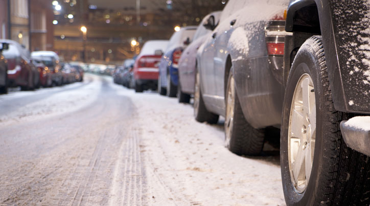 Cars Parked Up In Winter